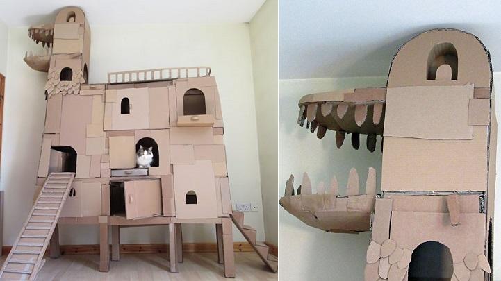 Espectacular casa para gatos con forma de dragón construida con cartón